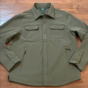 Woolrich Mens Snap Button Shell Jacket Large Green